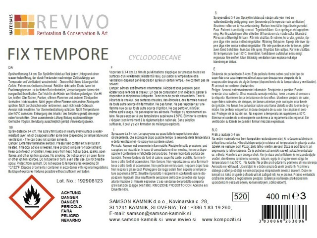 FIX TEMPORE cyclododecane spray temporary consolidant